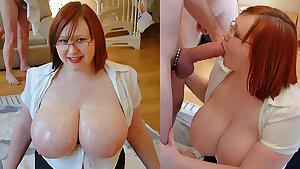 Scottish Nikki's huge tits getting cummed on