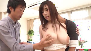 Magnificent threesome for busty girl - More at Japanesemamas.com