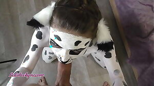 Beautiful Girl In Dalmatian Costume Playfully Rails Cavalier's Big Dick