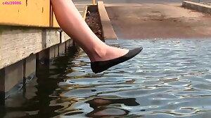 Crystal's dark-hued ballet flats, shoeplay, barefoot, muddy