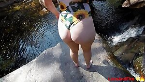 Waterfall sex after hiking with teen wearing bathing suit