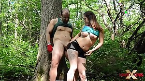 Leena Ray manhandle Rick Hard in the forest