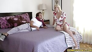 Stepson fucks his stepmoms big titties and fucks her face too befrore slamming her cougar pussy