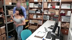 Horny officer fucks a steaming nubile in his office before taking her to jail.