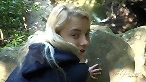 Blonde teen gets fucked and sucks salami in a forest (Riley Star)