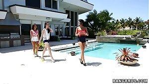 BANGBROS - Adriana Chechik, Janelle James, and Veronica Radke Lesbian 3 way