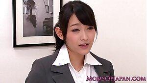 Innocent asian babe slurping classy mature box
