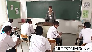Hot Japanese professor blows her student and plays with his cum
