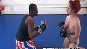 Multiracial MMA Mixed Wrestling vs Andrea Bra-less