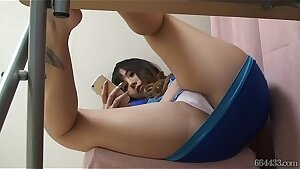 Hidden web cam under the desk Karen Uehara