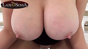 Lady Sonia shoves her hefty boobs in your face