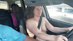 Flashing my tits to drivers on I-25