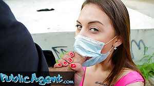 Public Agent, fucking a sexy and fleshy teen with face mask
